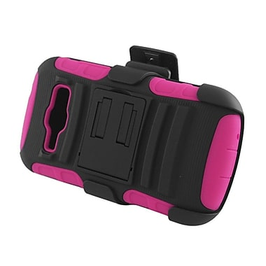 Insten Hybrid Stand Holster Case for Samsung Galaxy Prevail 2 Boost Mobile/Ring SPH-M840 (Virgin Mobile)- Black/Hot Pink