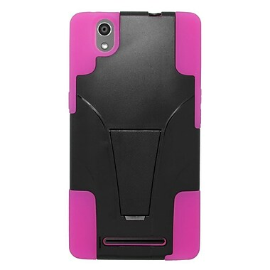 Insten Hard Dual Layer Plastic Silicone Case w/stand For ZTE ZMax - Black/Hot Pink
