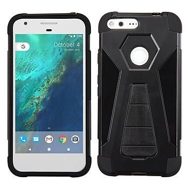 Insten Hard Dual Layer Plastic Silicone Case w/stand For Google Pixel XL - Black