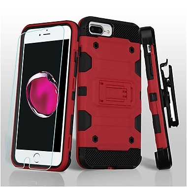 Insten Hard Dual Layer TPU Cover Case w/Holster/Installed For Apple iPhone 7 Plus / 6 Plus / 6s Plus - Red/Black