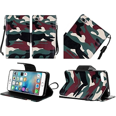 Insten Camouflage Folio Leather Fabric Cover Case Lanyard w/stand For Apple iPhone 7 Plus - Green/Black