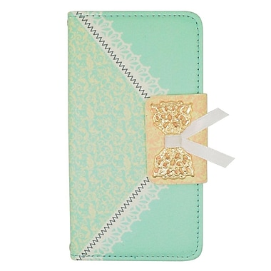 Insten Flip Leather Wallet Cover Case with Card slot For Sharp Aquos Crystal - Green/Gold