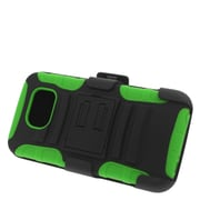 Insten Stand Dual Layer Hybrid Case with Holster For Samsung Galaxy S6 - Black/Green