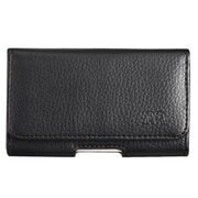 Insten Leather Feel Textured High Quality Horizontal Carry Pouch with Magnetic Case Flap Belt Clip - Black/Gray