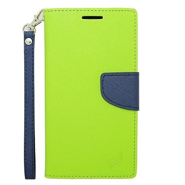 Insten Leather Wallet Case with Card slot & Lanyard For Samsung Galaxy Note 4 - Green/Blue