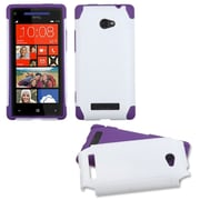 Insten White/Electric Purple Frosted Fusion Case for HTC: Windows Phone 8X, 6990LVW (Windows 8X)
