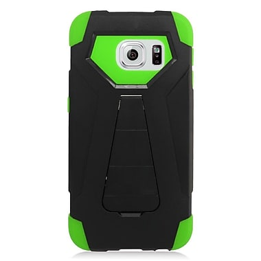 Insten Hard Hybrid Plastic Silicone Cover Case w/stand For Samsung Galaxy S6 Edge - Black/Green