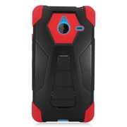 Insten Hard Dual Layer Plastic Silicone Cover Case For Microsoft Lumia 640 XL - Black/Red