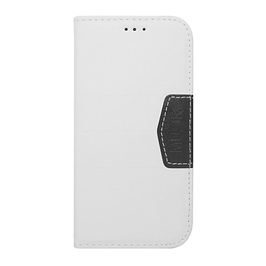 Insten Flip Leather Fabric Case with Card holder For ZTE Majesty/Source - White/Black