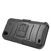 Insten Hard Dual Layer Plastic Silicone Stand Case with Holster For ZTE Quartz - Black