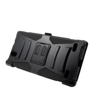 Insten Hard Hybrid Plastic Silicone Stand Case with Holster For ZTE Lever LTE - Black