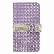 Insten Book-Style Leather Wallet Bling Case with Card slot For ZTE Prestige - Purple/Silver
