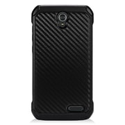 Insten Carbon Fiber Hard Dual Layer Rubber Coated Silicone Cover Case For ZTE Grand X 3 - Black