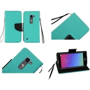 Insten Folio Leather Fabric Case Lanyard w/stand For LG Escape 2/Logos/Spirit 4G LTE - Teal/Black
