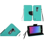 Insten Book-Style Leather Fabric Case Lanyard w/stand For LG Escape 2/Logos/Spirit 4G LTE - Teal/Black