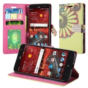 Insten Antique Flower Book-Style Leather Fabric Case w/stand/card holder For ZTE Grand X 4 - Yellow
