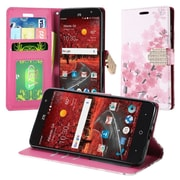 Insten Cherry Blossom Book-Style Leather Fabric Cover Case w/stand/card holder For ZTE Grand X 4 - Pink