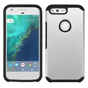 Insten Hard Hybrid Rubberized Silicone Cover Case For Google Pixel - Silver/Black