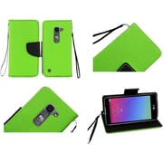 Insten Flip Leather Fabric Cover Case Lanyard w/stand For LG Escape 2/Logos/Spirit 4G LTE - Green/Black