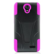 Insten Hard Dual Layer Plastic Silicone Case with stand For ZTE Avid Plus/Prestige - Hot Pink