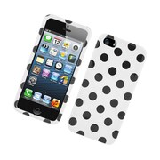 Insten Polka Dots Hard Plastic Case for iPhone 5S 5 SE - White/Black