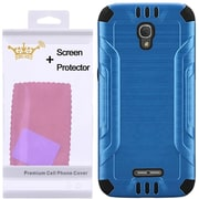 Insten Hard Dual Layer Silicone Case with Screen Protector For Alcatel One Touch Fierce 4 / Pop 4 Plus - Blue/Black