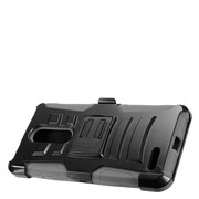 Insten Advanced Armor Dual Layer Hybrid Stand Case + Holster Clip For ZTE Zmax Pro - Black/Gray