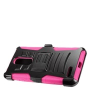 Insten Advanced Armor Dual Layer Hybrid Stand Case + Holster Clip For ZTE Zmax Pro - Black/Hot Pink