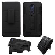 Insten Hard Dual Layer Plastic Silicone Cover Case w/Holster For ZTE Zmax Pro - Black