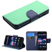 Insten Folio Leather Fabric Cover Case w/stand/card holder For ZTE Obsidian - Teal/Blue