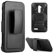 Insten Hybrid Hard PC/TPU Dual Layer Case Skin with H Style Stand For ZTE Zmax Pro - Black