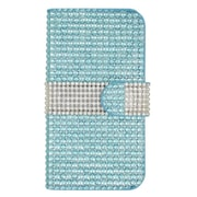Insten Flip Leather Wallet Bling Case with Card slot For ZTE Speed - Light Blue/Silver