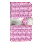 Insten Leather Wallet Bling Cover Case with Card slot For ZTE Speed - Hot Pink/Silver