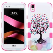 Insten Tuff Love Tree Hard Dual Layer Silicone Case For LG Tribute HD / X STYLE - Pink/White