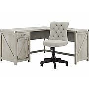 """kathy ireland Home by Bush Furniture Cottage Grove 60"""" L-Shaped Desk with Chair, Cottage White (CGR012CWH)"""