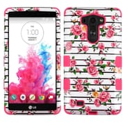 Insten Tuff Fresh Roses Hard Dual Layer Rubber Coated Silicone Cover Case For LG G VISTA - Pink/White