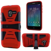 Insten Hard Dual Layer Rubber Coated Silicone Case w/stand For Alcatel Stellar / Tru - Black/Red
