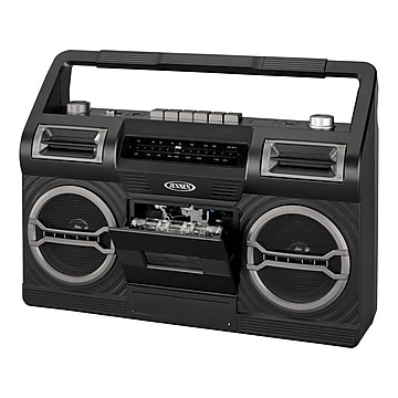 Jensen MCR-500 Portable AM/FM Radio Cassette Recorder/Player, Black