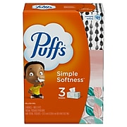 Puffs Basic Standard Facial Tissue, 2-Ply, 180 Sheets/Box, 3 Boxes/Pack (84381/34458)