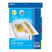 Bulk Buys BAZIC 3-Ring Binder Pockets Dividers w/ 5-Insertable Color Tabs Case Of 24 (DLRDY245919)