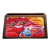 Caroline's Treasures Big Red Cat At The Fishbowl Decorative Desktop Professional Wooden Business Card Holder (CRLT16263)