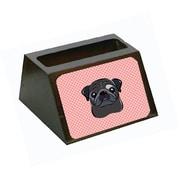 Caroline's Treasures Checkerboard Pink Black Pug Decorative Desktop Wooden Business Card Holder (CRLT65628)