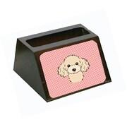 Caroline's Treasures Checkerboard Pink Buff Poodle Decorative Desktop Wooden Business Card Holder (CRLT65623)