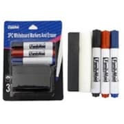 DDI 3 Piece with Eraser Dry Erase Markers - Black, Blue & Red (DLR339801)