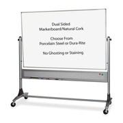 Balt, Inc. Mobile Reversible Board, 6 ft. x 4 ft., Melamine - Cork, Platinum (SPRCH33477)