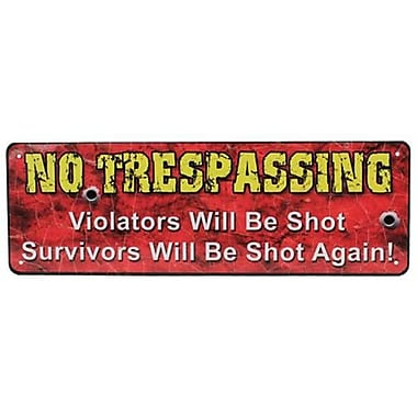 10.5 in. x 3.5 in. Tin Sign - No Trespassing (GS184478)