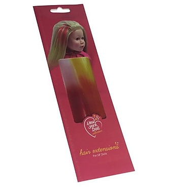 New York Doll Collection Clip in Hair Extensions, White Pink & Yellow Orange (NYDC1052)
