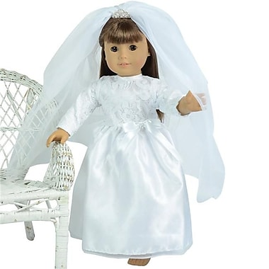 New York Doll Collection Wedding Gown & Veil with Tiara New (NYDC1127)