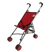 New York Doll Collection Single Doll Travel Stroller Red Quilted (NYDC1153)