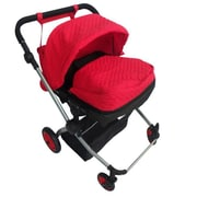 New York Doll Collection Twin Deluxe Babyboo Stroller Red Quilted (NYDC1080)